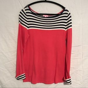 """Lilly Pulitzer Coral & Navy """"Maria"""" Sweater"""